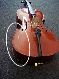 Crack in cello top, caused by dry air